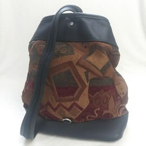 ALBANO Rare Leather Canvas Fabric Printed Backpack